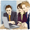 three partners follow webcam from the office