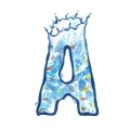 letter initial A splash water in blue with fishes ultra realistic PNG transparent