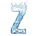 letter initial Z splash water in blue with fishes ultra realistic PNG transparent